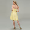 Image of Yellow Knee Length Bridesmaid Dress