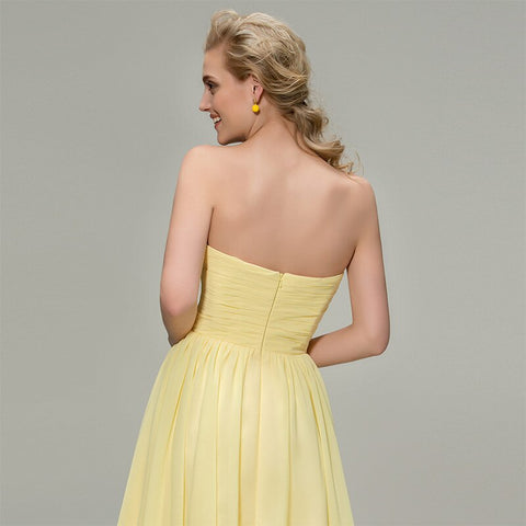 Yellow Knee Length Bridesmaid Dress