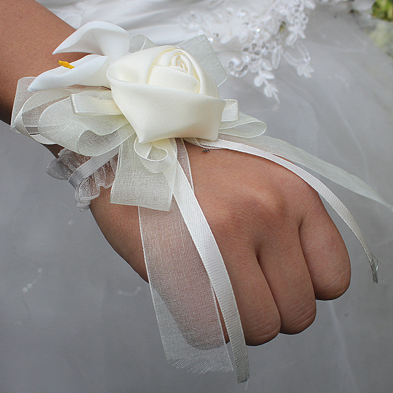Wifelai-a1 pcs/lot Ivory Silk Rose Flowers PE Calla Lily Wrist Flowers Bride Ribbon Wedding Corsage Hand Flowers