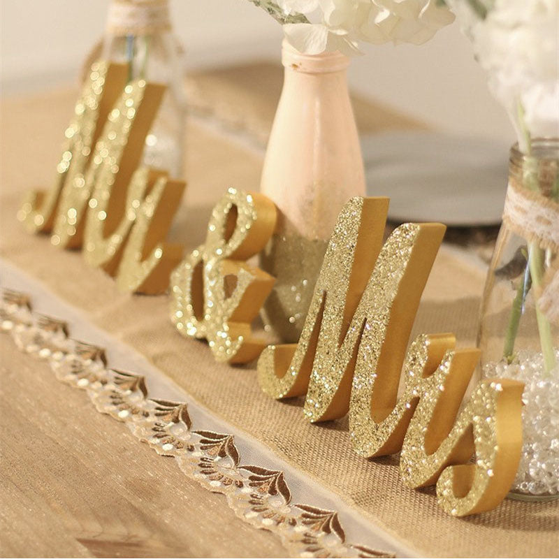 Mr & Mrs Wooden Table Sign