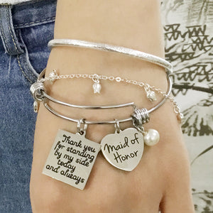 "Maid of Honor ""Thank You"" Bangle"