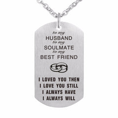 Groom Dog Tag Necklace