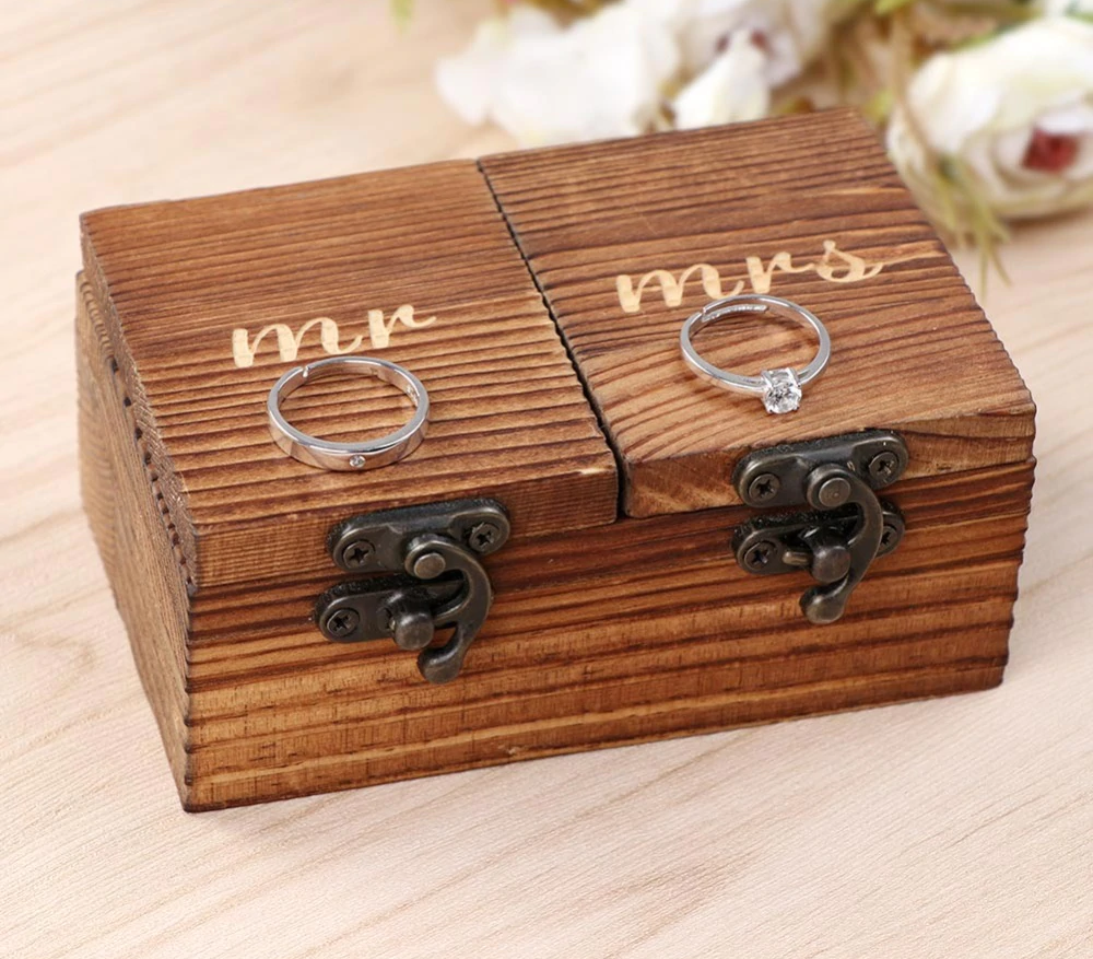 Mr & Mrs Wooden Ring Box