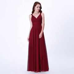 Deep Red Bridesmaid Mesh Dress
