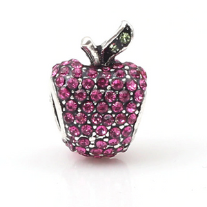Pink Gem Apple Charm