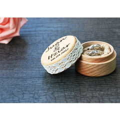 Personalised Round Wedding Ring Bearer Box with Lace Detail