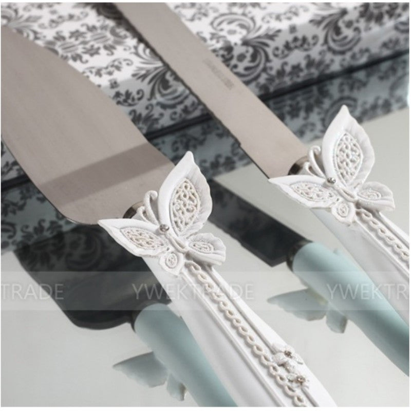 Wedding Cake Knife and Server Set with Butterfly or Heart Handle