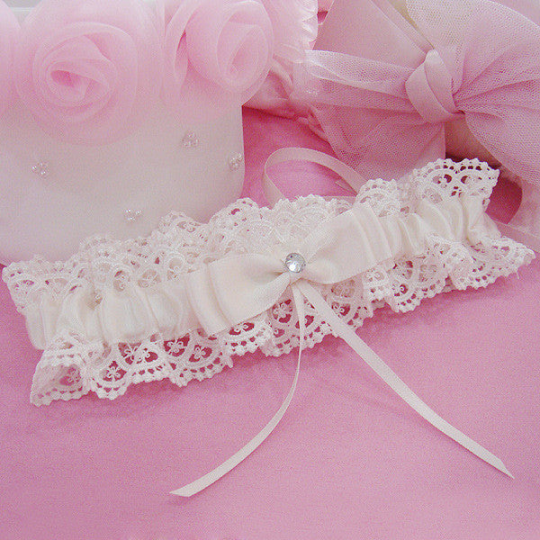 Cream Lace Bridal Garter Bow & Diamante Detail