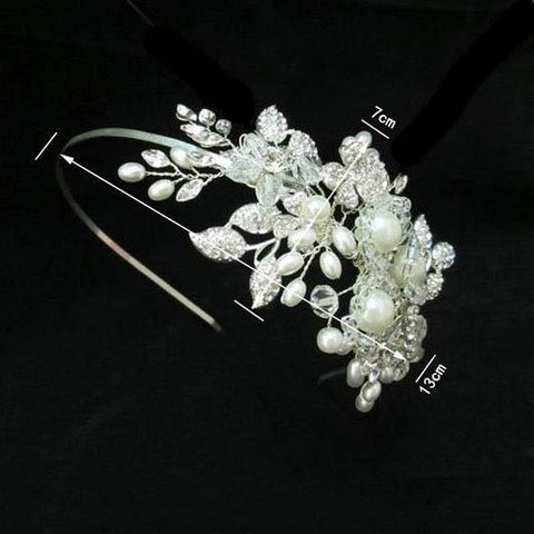 Silver Crystal And Pearl Handmade Bridal Head Band