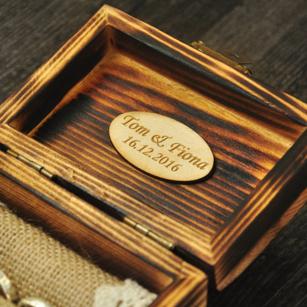 Personalised Rustic Wooden Ring Bearer Box