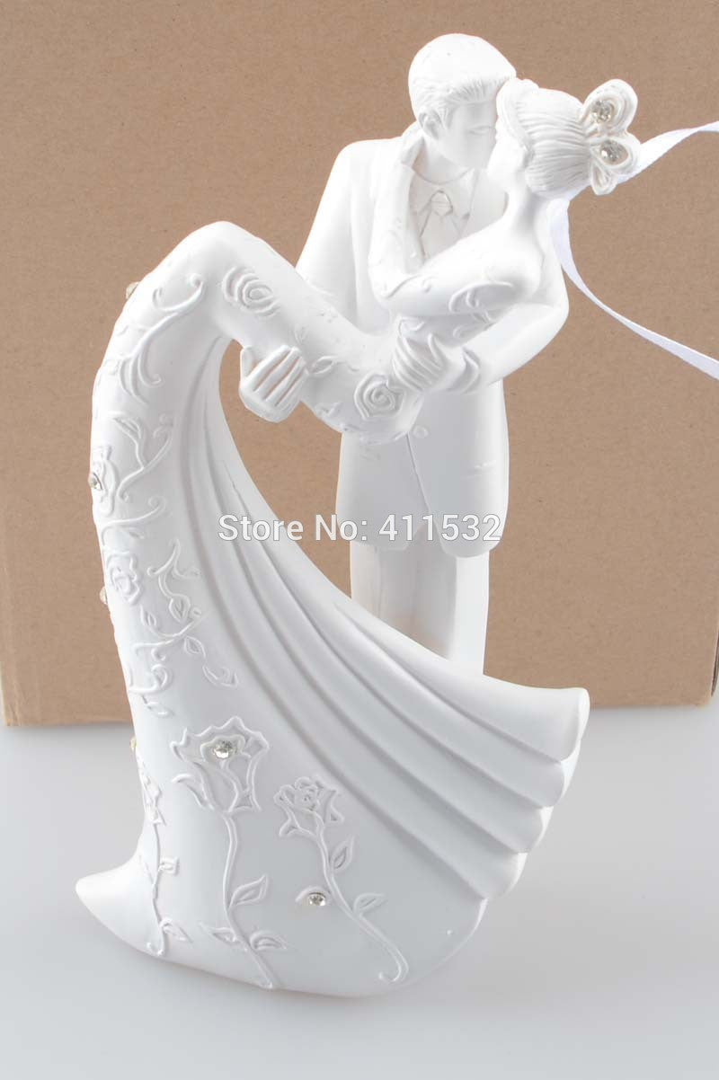 White Resin Bride And Groom Wedding Cake Topper