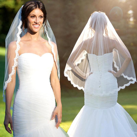Fingertip Length Veil with Lace Edge