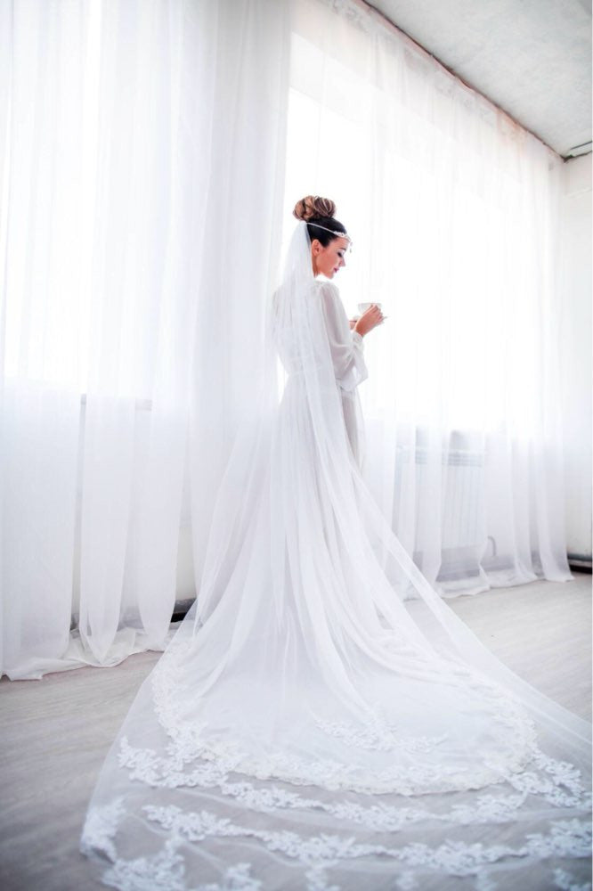 Cathedral Length Veil With Lace Edge