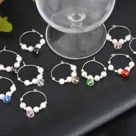 Faux Pearl Glass Charms - 10pcs