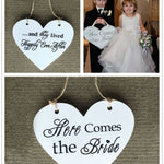 "Double-Side Wooden ""Here Comes the Bride"" Wedding Sign"