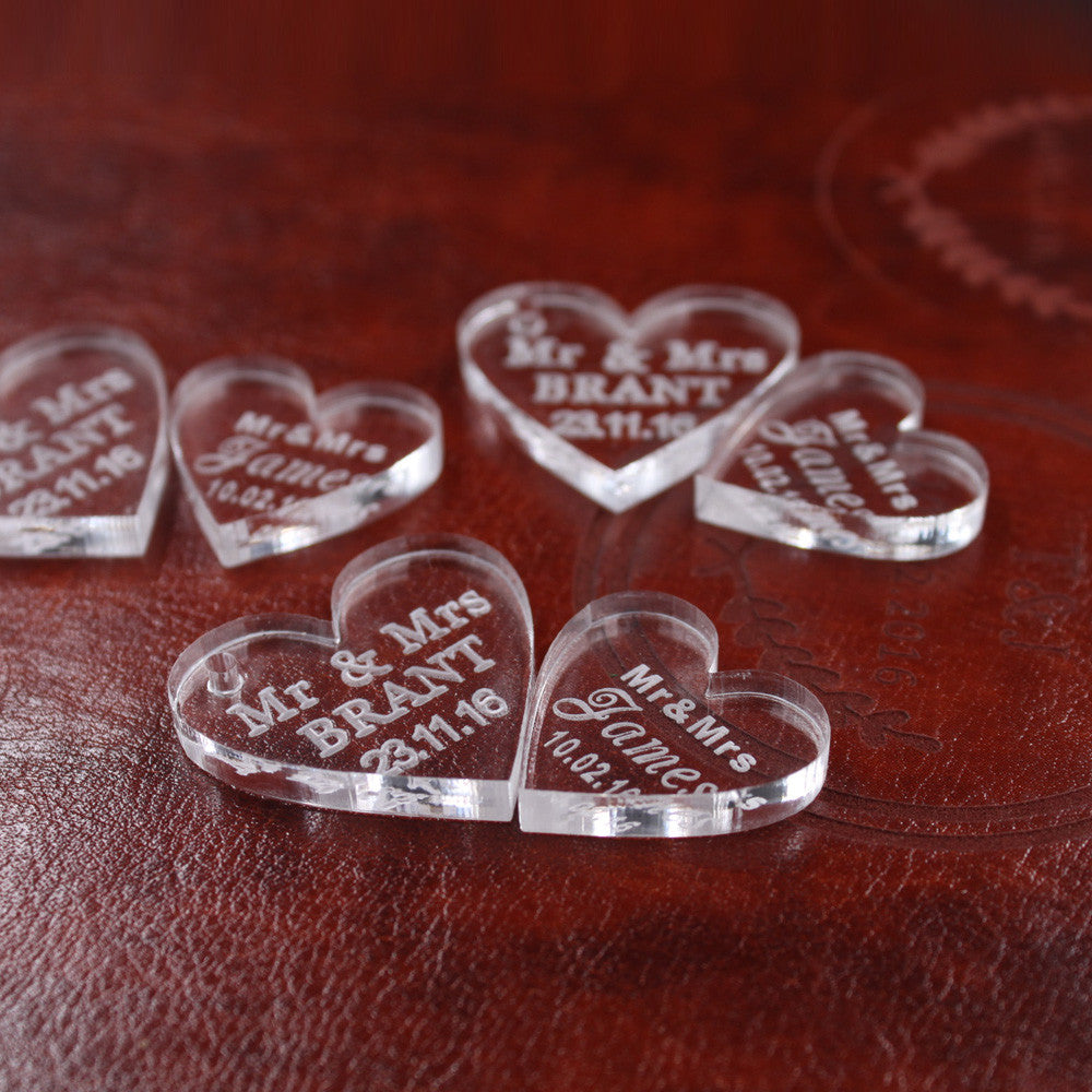 f814b4bbed0 Personalised Heart Table Decorations Engraved Wedding Favors – The ...