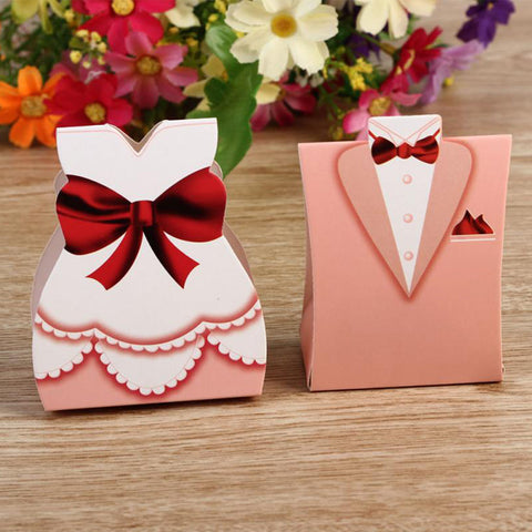 Pink Tuxedo & Dress Favor Boxes - 50pcs