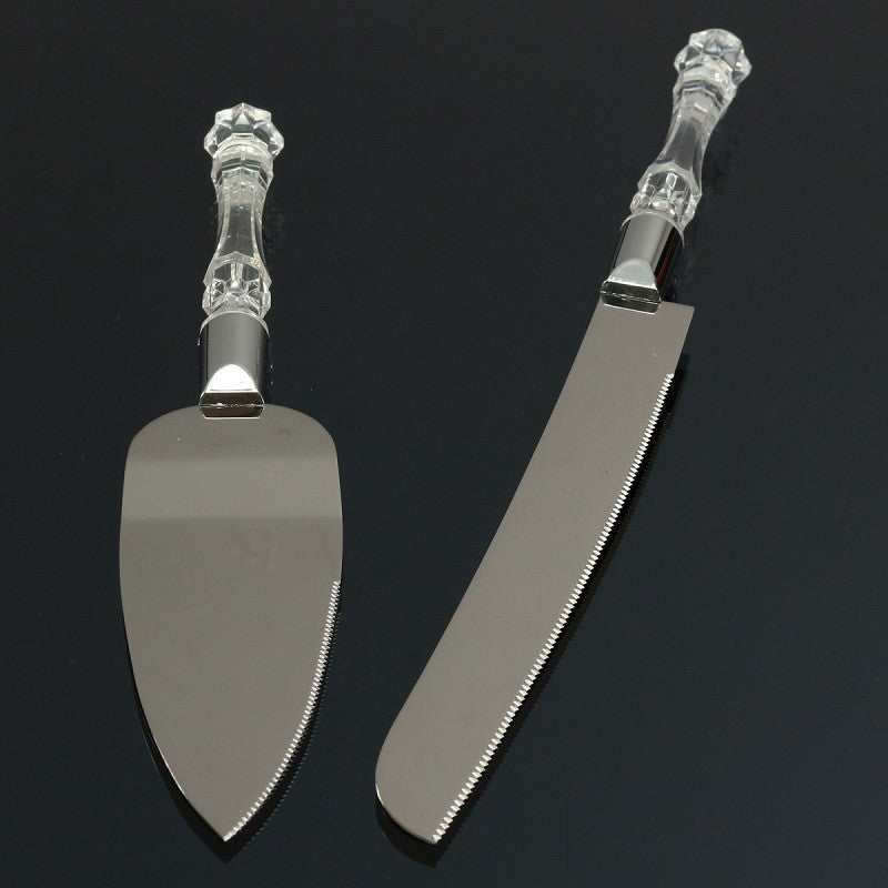 2 Piece Stainless Steel Wedding Cake Knife Set