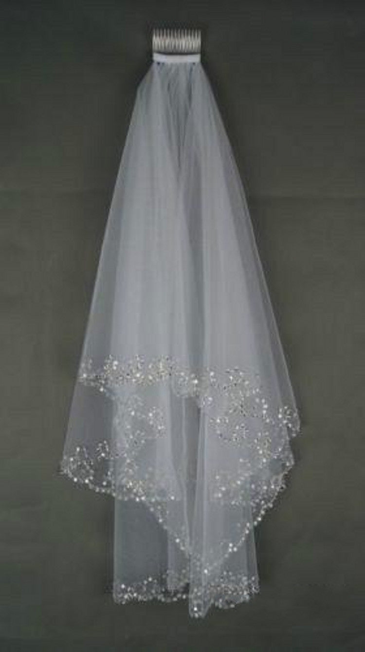 Waist Length Bridal Veil with Beaded Edge