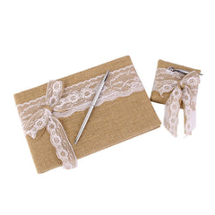 Hessian Burlap Wedding Guest Book and Pen Set