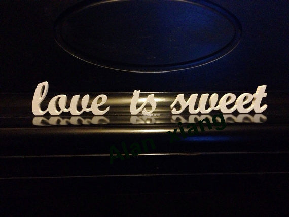 "White ""love is sweet"" Wooden Letters"
