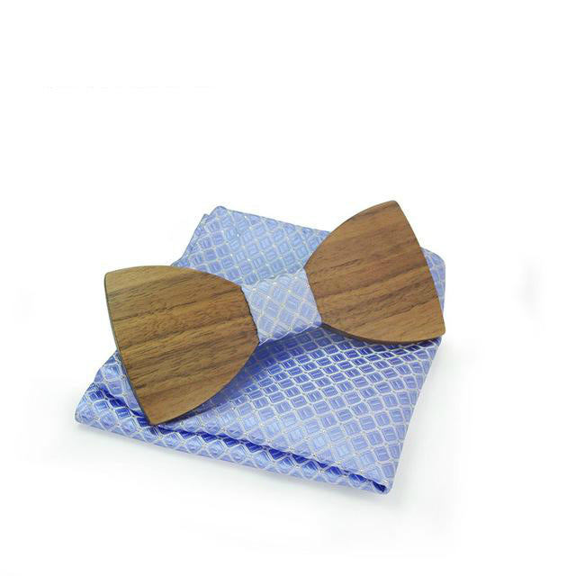 Handmade Wooden Bow Tie With Pocket Hanky Set