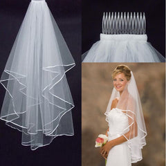 Two Layer Bridal Veil with Satin Edge