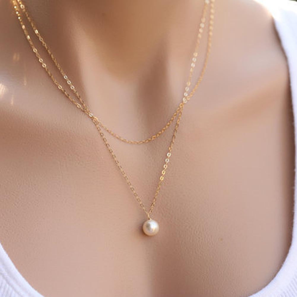 Double Chain Pearl Pendant Necklace