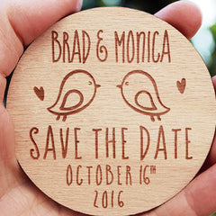 Personalised Wooden 'Love Birds' Save the Date Magnets