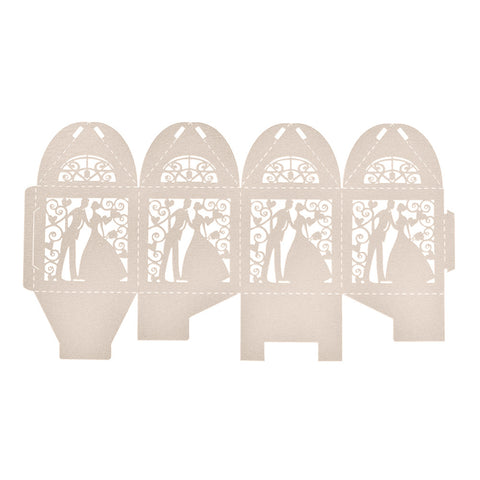 Bride & Groom Silhouette Favor Boxes - 10pcs