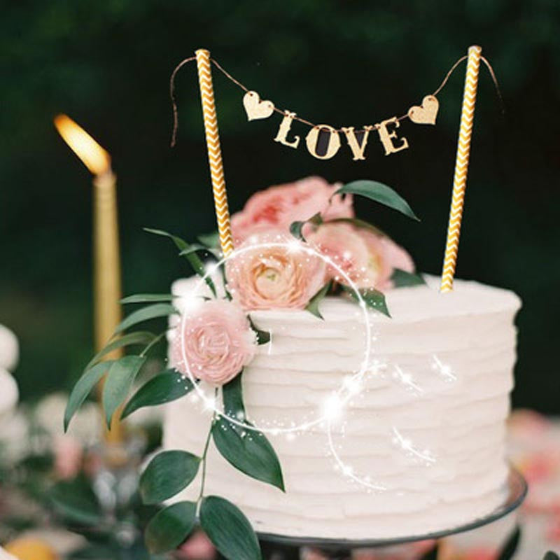 Love Flag Wedding Cake Topper