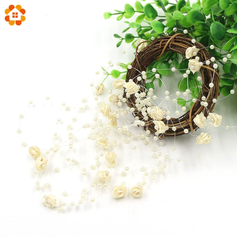 Faux Pearl & Flower Beads On String - 5m