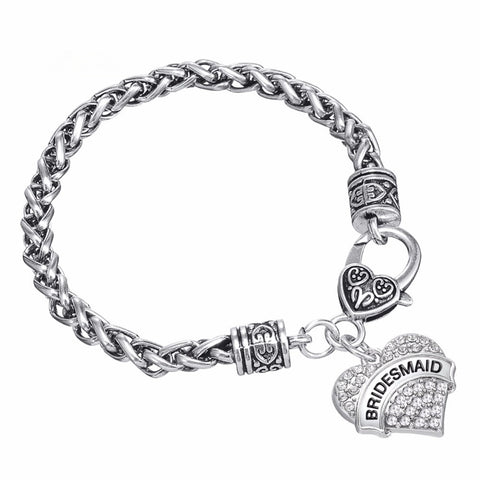 Heart Charm Bracelet - Maid of Honor / Bridesmaid / Mother of the Bride