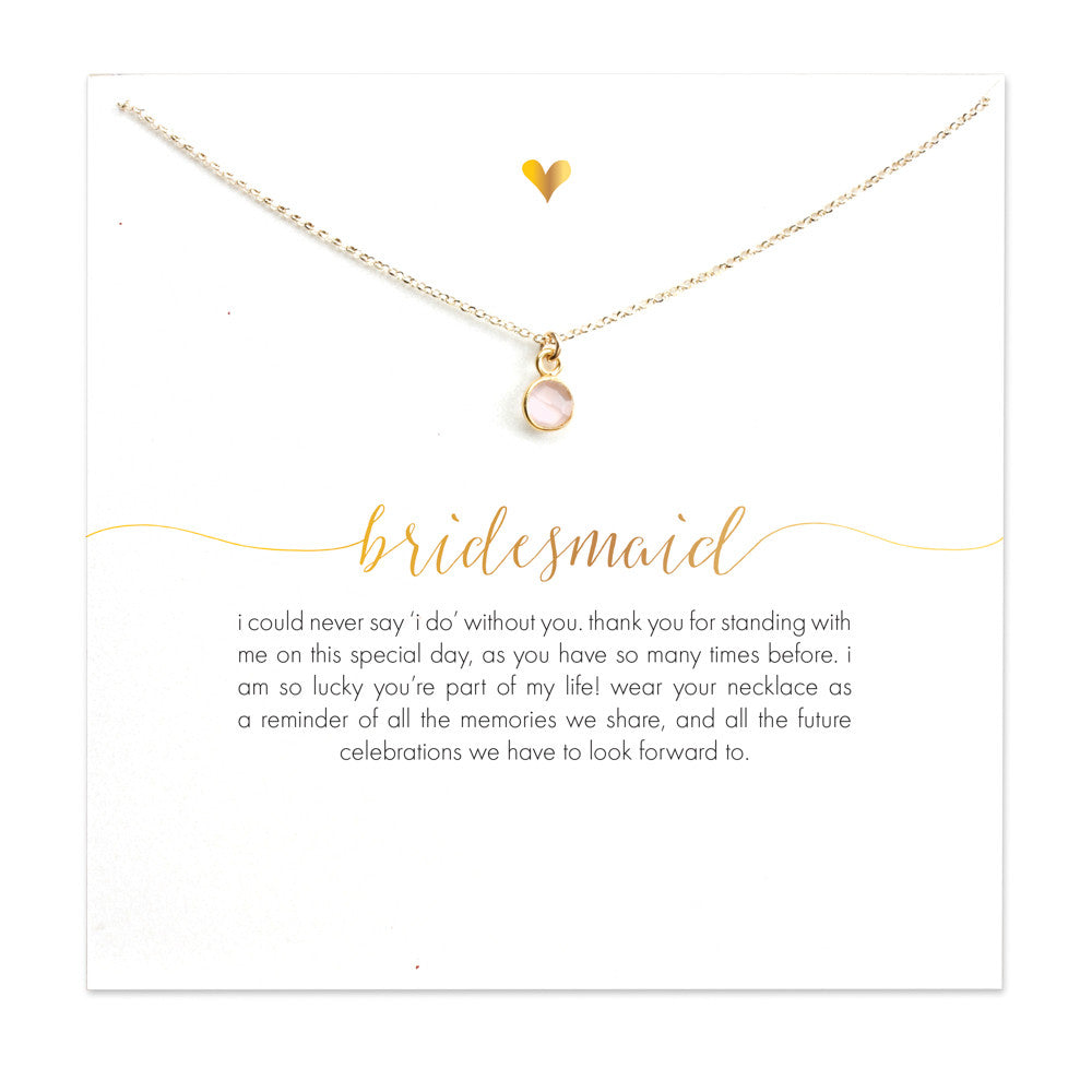 Bridesmaid Pink Faux Gem Necklace