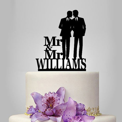 Personalised Mr & Mr Wedding Cake Topper