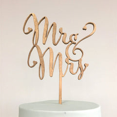 Rustic Wooden Mr & Mrs Cake Topper