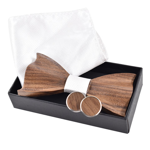 Handmade 3D Wooden Bow Tie With Hanky & Cufflinks Gift Set