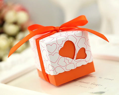 Coloured Heart Design Favor Boxes - 100pcs