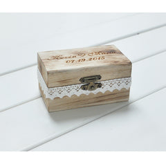 Personalised Wooden Wedding Ring Bearer Box