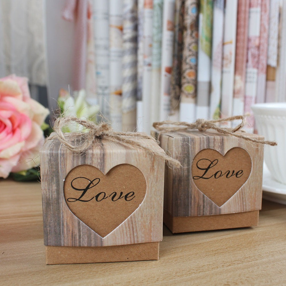 "Wood Effect ""Love"" Favor Boxes"