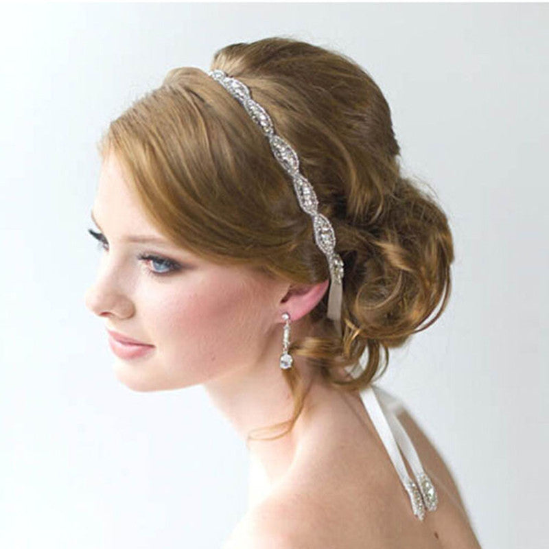 Retro Style Bridal Headband With Crystal Rhinestones
