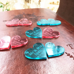 Red & Blue Personalised Table Heart Decorations