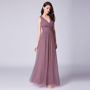 Purple V-Neck Bridesmaid Dress