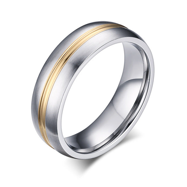 Gold Ribbon His & Hers Wedding Bands