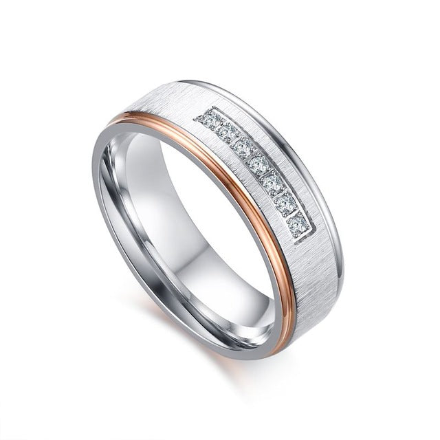 Matte Ribbon Rose Gold Plated Dropped Edge His & Hers Wedding Bands