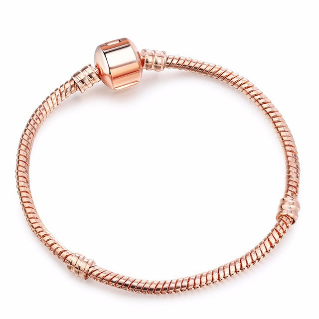 Silver Plated Rose Gold Charm Bracelet