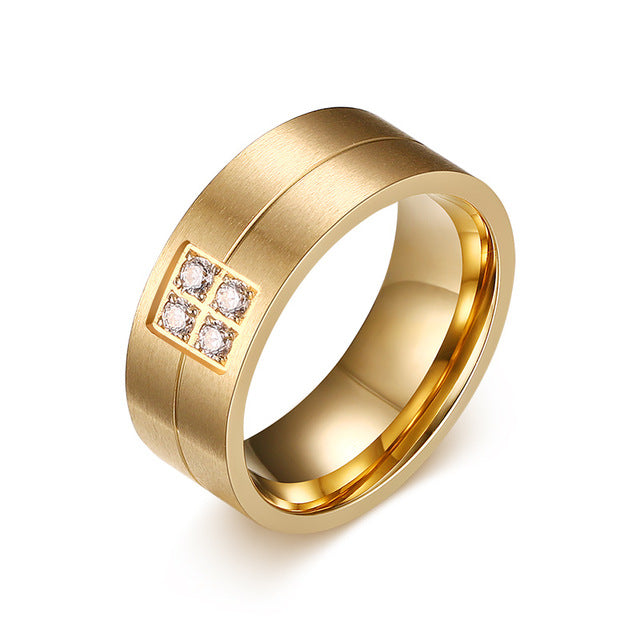 Matte Gold Plated Single Groove His & Hers Wedding Bands