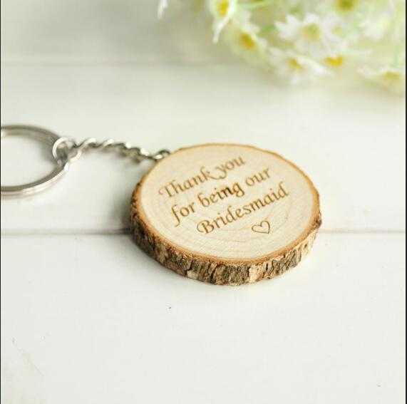 Personalised Wooden Bridesmaid Keyring