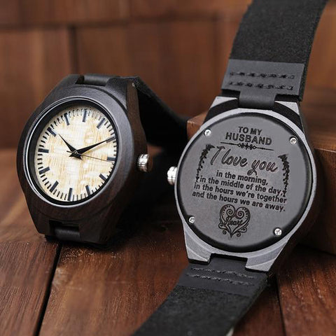 Engraved Black Wooden Watch