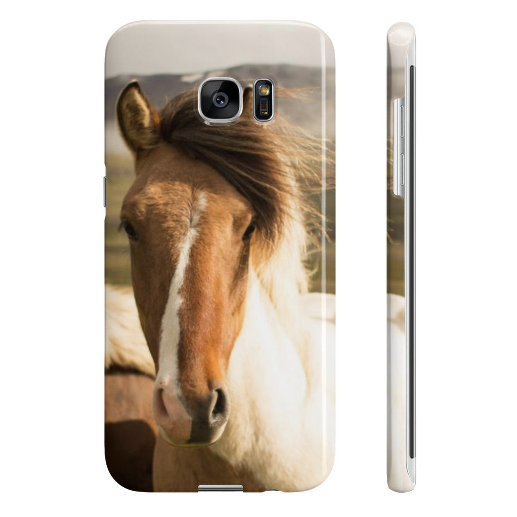Must Love Horses - Pinto Icelandic Horse - Phone Case (Samsung Galaxy S7 Edge Slim)